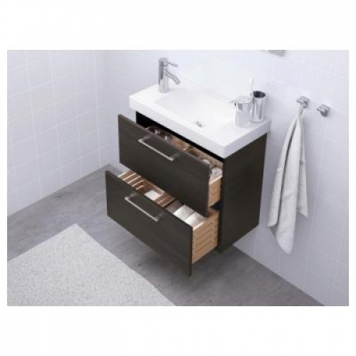ГОДМОРГОН Шкаф для раковины с 2 ящ - черно-коричневый, 60х32х58 см