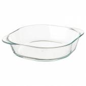 ФОЛЬСАМ Форма для духовки, прозрачное стекло, 24.5x24.5 см