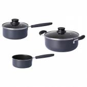 КВЭЛЛЬСВАРД Набор кухонной посуды, 3 предметa, серый