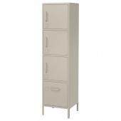 ИДОСЕН Высокий шкаф с ящиком и дверцами, бежевый, 45x172 см