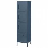 ИДОСЕН Высокий шкаф с ящиком и дверцами, синий, 45x172 см