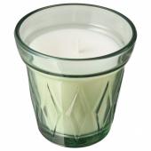 ВЭЛЬДОФТ Ароматическая свеча в стакане, Утренняя роса светло-зеленый, светло-зеленый, 8 см